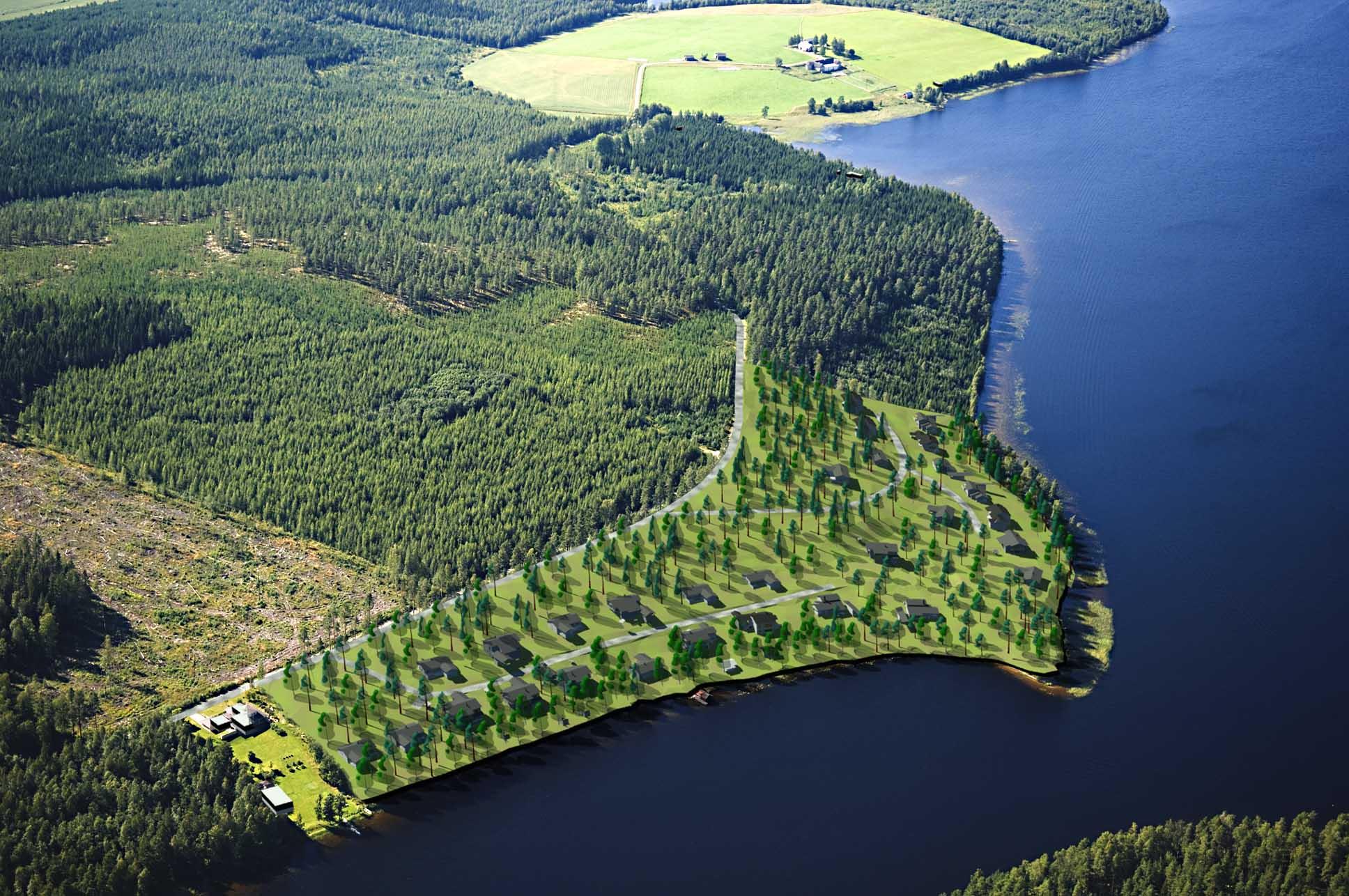 Visiokuva Tuhmalanniemen asuinalueesta.