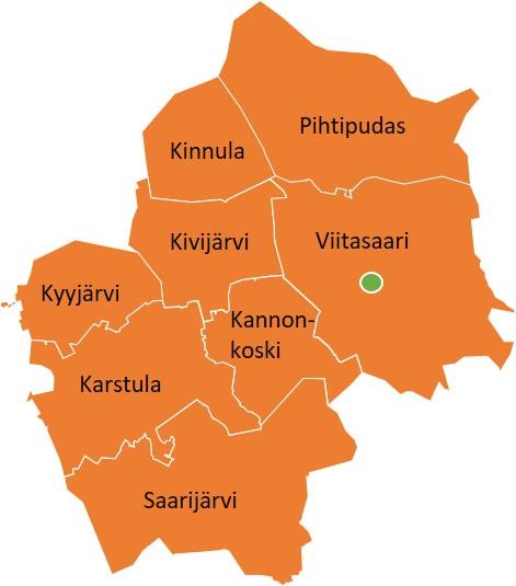 Eläinsuojelun toimialuetta ovat Viitasaaren, Pihtiputaan, Kinnulan, Saarijärven, Karstulan, Kyyjärven, Kivijärven ja Kannonkosken kunnat. Toimipiste sijaitsee Viitasaarella.