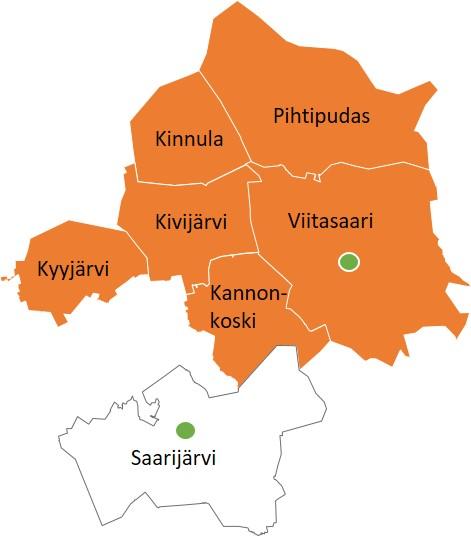 Ympäristönsuojelun toimialuetta ovat Viitasaaren, Pihtiputaan, Kinnulan, Kyyjärven, Kivijärven ja Kannonkosken kunnat. Toimipisteet sijaitsevat Viitasaarella ja Saarijärvellä.