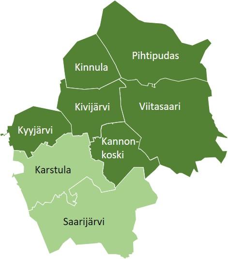 Pohjoisen Keski-Suomen ympäristötoimen toimialuetta ovat Viitasaaren, Pihtiputaan, Kinnulan, Saarijärven, Karstulan, Kyyjärven, Kivijärven ja Kannonkosken kunnat.