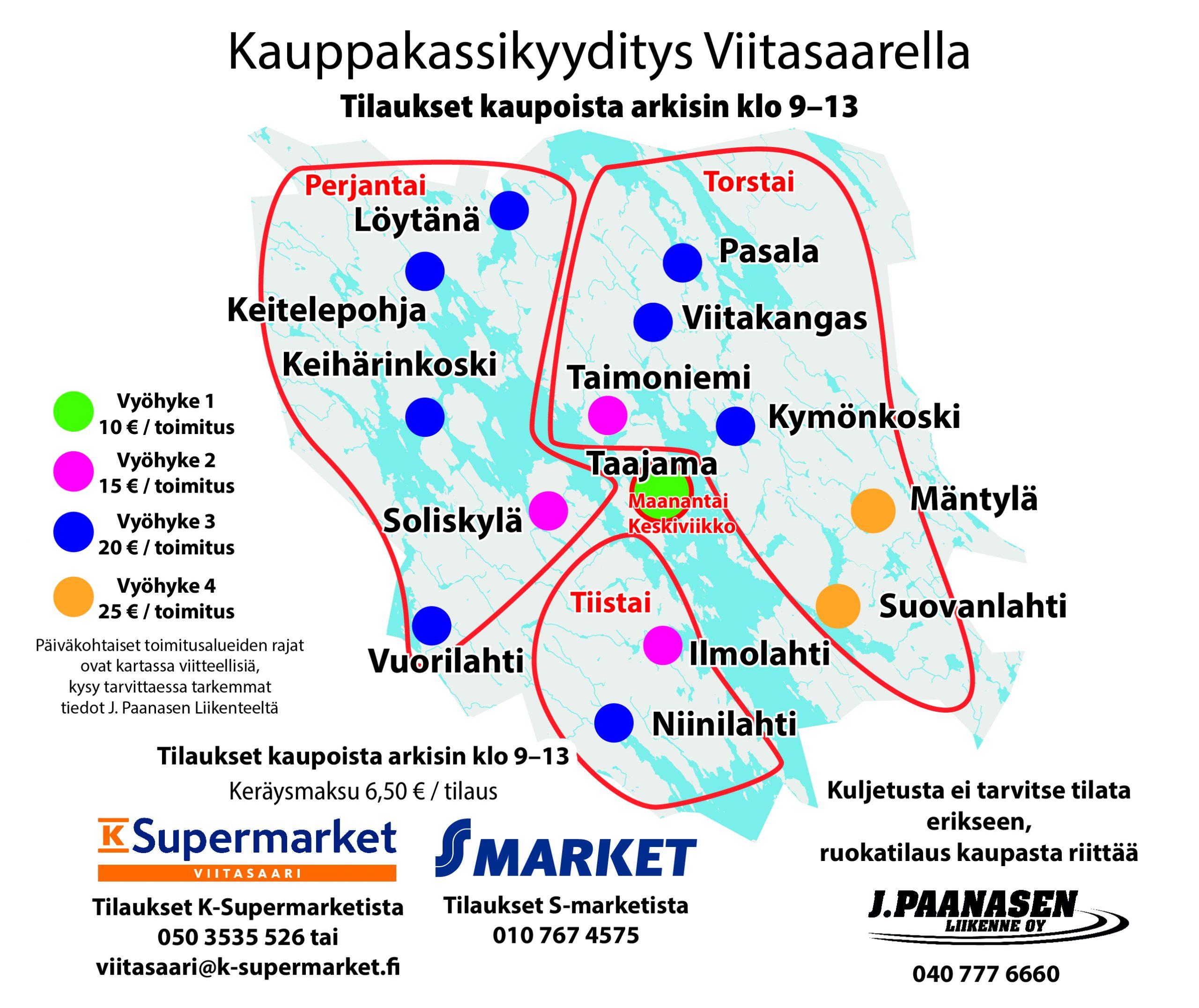 Kauppakyydityspalvelun kartta, jossa mm. vyöhykkeet ja toimituspäivät